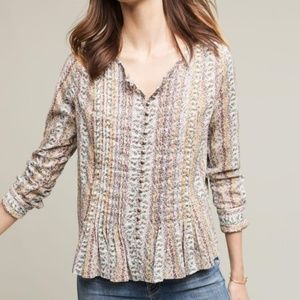 [Anthropologie] Floral Pleated Button Down Blouse